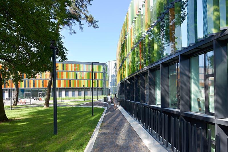 Geschosshohe Glaslamellen, farblich inspiriert vom umgebenden Kiefernwald, fungieren als Sonnenschutz und prägen die Außenansicht der Gebäude am neuen DZNE Standort in Bonn. Fotos: Velux / Jesper Blaesild