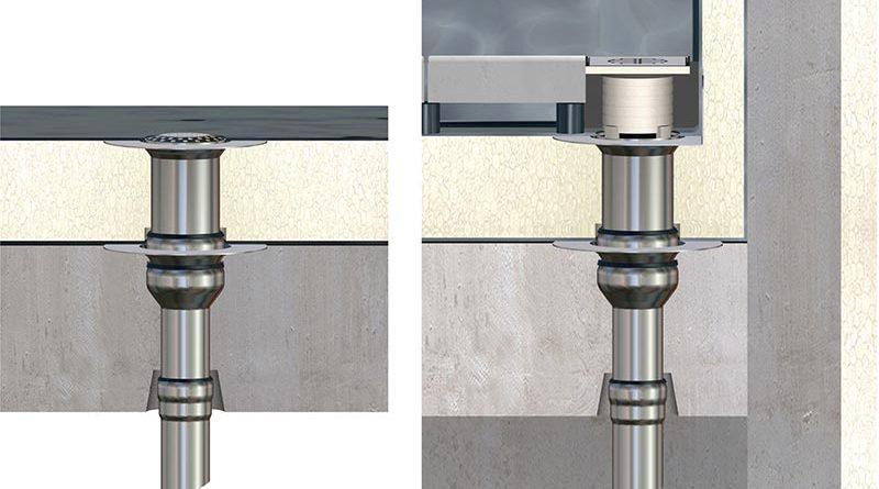 Balkonentwässerung ist ein Messeschwerpunkt auf der Dach + Holz bei Loro: Die Serie V bietet mehrere Lösungen, u.a. für Balkonabdichtung mit Flüssigkunststoffen oder Abdichtungsbahnen. Beispiele sind Führungen mit Klebeflansch (Serie V-FL – links) oder mit aufgekantetem Klebeflansch (Serie V-AK). Bild: Loro