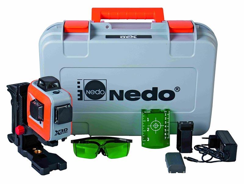 Der Lieferumfang umfasst einen stabilen Transportkoffer, den Multi-Linienlaser, eine Laserbrille, eine Magnetzieltafel, eine Wandhalterung, ein Ladekabel sowie ein zusätzliches Batteriefach. Quelle: Nedo GmbH & Co. KG