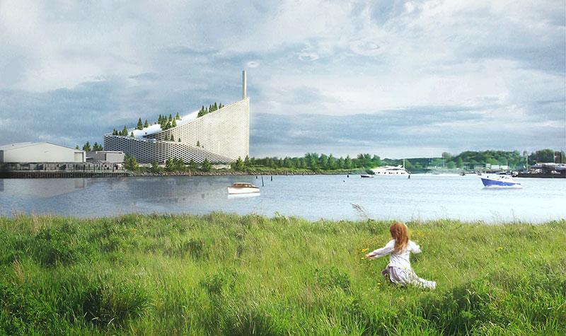 Kopenhagen bekommt mit dem futuristischen Amager Ressource Center tatsächlich ein grünes Wahrzeichen. Quelle: BIG