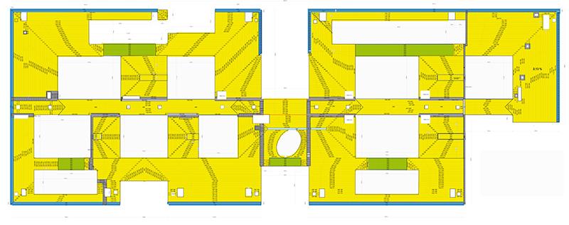 Gefälleplan des 70 x 190 Meter großen Flachdaches. Foto: puren