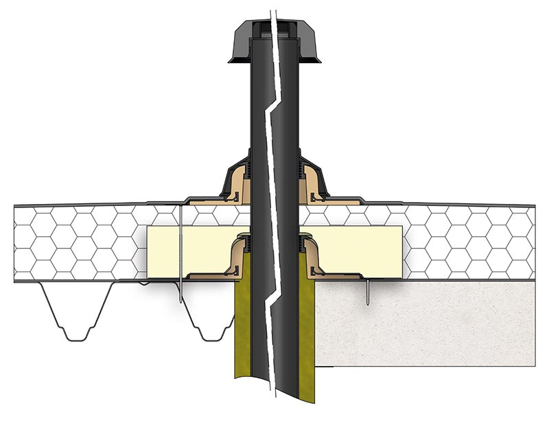 Formschlüssige Einbettung des kuppelförmigen Bauteils: Dämmkörper für die SitaVent Grundplatte.